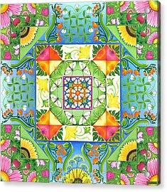Vegetable Patchwork Acrylic Print by Isobel  Brook Haslam