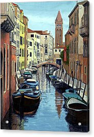 Venice Canal And Old Bell Tower Acrylic Print by Janet King