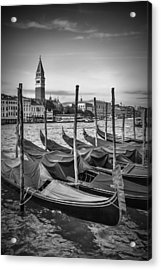 Venice Grand Canal And St Mark's Campanile Black And White Acrylic Print by Melanie Viola