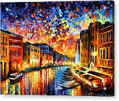 Venice - Grand Canal Acrylic Print by Leonid Afremov