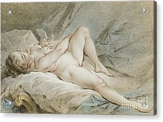 Venus Playing With Two Doves Acrylic Print by Francois Boucher