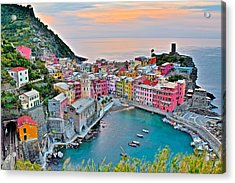 Vernazza At Daybreak Acrylic Print by Frozen in Time Fine Art Photography