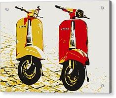 Vespa Scooter Pop Art Acrylic Print by Michael Tompsett