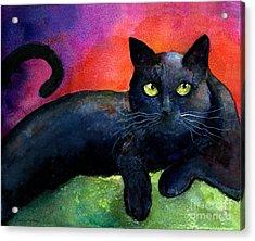 Vibrant Black Cat Watercolor Painting  Acrylic Print by Svetlana Novikova