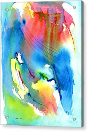 Vibrant Colorful Abstract Watercolor Painting Acrylic Print by Carlin Blahnik