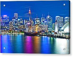 Vibrant Darling Harbour Acrylic Print by Az Jackson