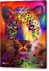 Vibrant Leopard Painting Acrylic Print by Svetlana Novikova