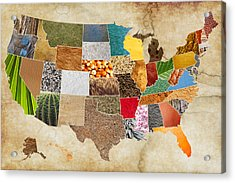 Vibrant Textures Of The United States On Worn Parchment Acrylic Print by Design Turnpike