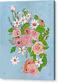Victoria Rose Flowers Acrylic Print by Blenda Studio