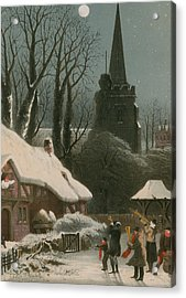 Victorian Christmas Scene With Band Playing In The Snow Acrylic Print by John Brandard