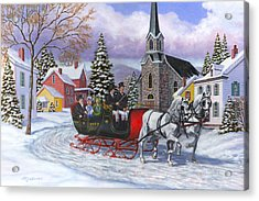 Victorian Sleigh Ride Acrylic Print by Richard De Wolfe