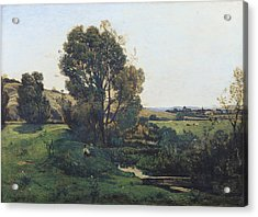 View From Moncel-sur-seine Acrylic Print by Henri-Joseph Harpignies