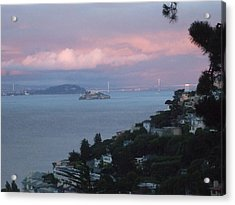 View Of Alcatraz From Our Sausalito Home Acrylic Print by Rich Bertolina