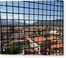 View Of Buildings Through Barred Window Acrylic Print by Panoramic Images