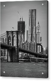 View Of One World Trade Center And Brooklyn Bridge Acrylic Print by Matt Pasant
