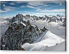 View Of Overlooking Alps Acrylic Print by Ellen van Bodegom