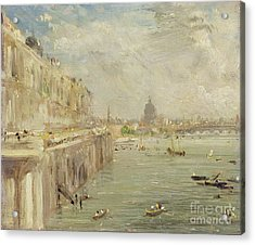 View Of Somerset House Terrace And St. Paul's Acrylic Print by John Constable