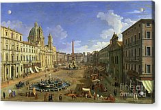 View Of The Piazza Navona Acrylic Print by Canaletto