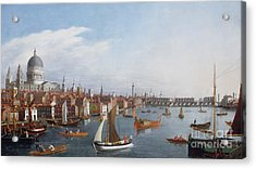 View Of The River Thames With St Paul's And Old London Bridge   Acrylic Print by William James