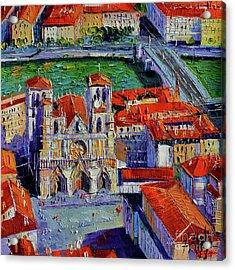 View Over Cathedral Saint Jean Lyon Acrylic Print by Mona Edulesco