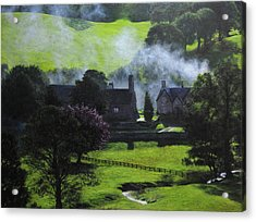 Village In North Wales Acrylic Print by Harry Robertson