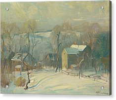 Village In Snow Acrylic Print by Arthur Clifton Goodwin