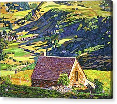 Village In The Valley Acrylic Print by David Lloyd Glover
