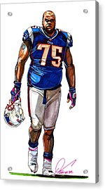 Vince Wilfork Acrylic Print by Dave Olsen