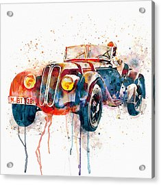 Vintage Bmw Watercolor Acrylic Print by Marian Voicu