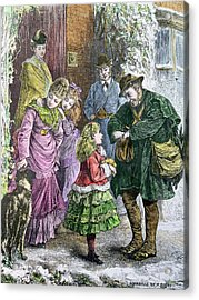 Vintage Christmas Card Acrylic Print by Pat Scott