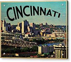 Vintage Cincinnati Skyline Acrylic Print by Flo Karp