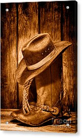 Vintage Cowboy Boots - Sepia Acrylic Print by Olivier Le Queinec