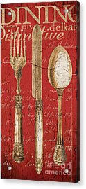 Vintage Dining Utensils In Red Acrylic Print by Grace Pullen