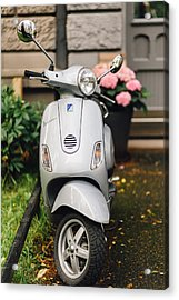 Vintage Grey Vespa,old Fashioned Italian Motorbike, Is Parked On The Street Sideway Acrylic Print by Aldona Pivoriene
