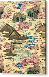 Vintage Japanese Illustration Of An Abstract Landscape With Stylized Houses Acrylic Print by Japanese School