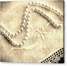 Vintage Lace And Pearls Acrylic Print by Barbara Griffin