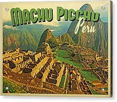 Vintage Machu Picchu Peru Acrylic Print by Flo Karp