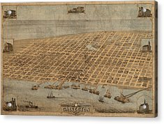 Vintage Map Of Galveston Texas 1871 Birds Eye Street View  Acrylic Print by Design Turnpike