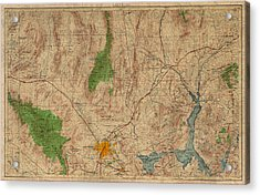 Vintage Map Of Las Vegas Nevada 1969 Aerial View Topography On Distressed Worn Canvas Acrylic Print by Design Turnpike
