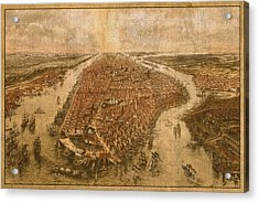 Vintage Map Of Manhattan New York City Nyc Birds Eye View Schematic Circa 1865 On Worn Distressed Canvas Acrylic Print by Design Turnpike