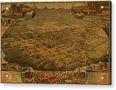 Vintage Map Of Phoenix Arizona Aerial View Topographical Illustration Artwork On Distressed Canvas Acrylic Print by Design Turnpike