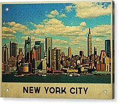Vintage New York City Skyline Acrylic Print by Flo Karp
