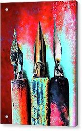 Vintage Pens Trio Acrylic Print by Carol Leigh