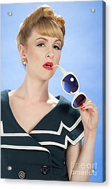 Vintage Pin Up Acrylic Print by Amanda And Christopher Elwell