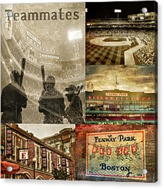 Vintage Red Sox Fenway Park Baseball Collage Acrylic Print by Joann Vitali