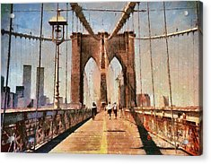 Vintage Shot Of Brooklyn Bridge With Twin Towers Acrylic Print by Nishanth Gopinathan