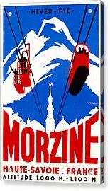 Vintage Ski Travel France Acrylic Print by Mindy Sommers