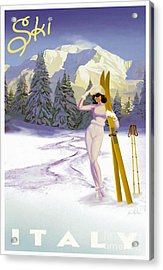 Vintage Skiing Glamour Acrylic Print by Mindy Sommers
