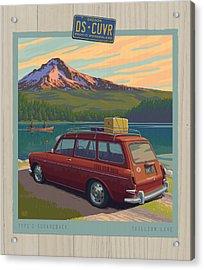 Vintage Squareback At Trillium Lake Acrylic Print by Mitch Frey