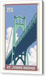 Vintage St. Johns Bridge Travel Poster Acrylic Print by Mitch Frey
